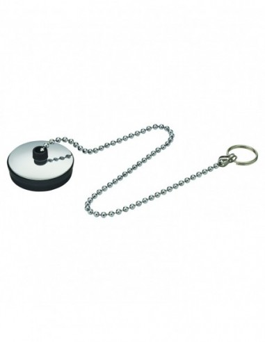 Stainless steel cover plug with split ring and chain l. 300 mm, D. 36/38 mm