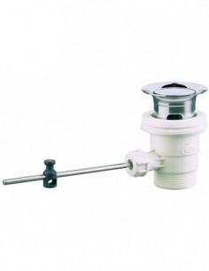 Bonde pour lavabo automatique sans tirette verticale en laiton chromé