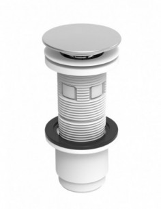 Universal washbasin waste, white ABS with stainless steel plug, tightening 5/87 mm