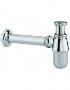 Siphon pour lavabo en laiton chromé réglable de diam 32 avec une sortie murale