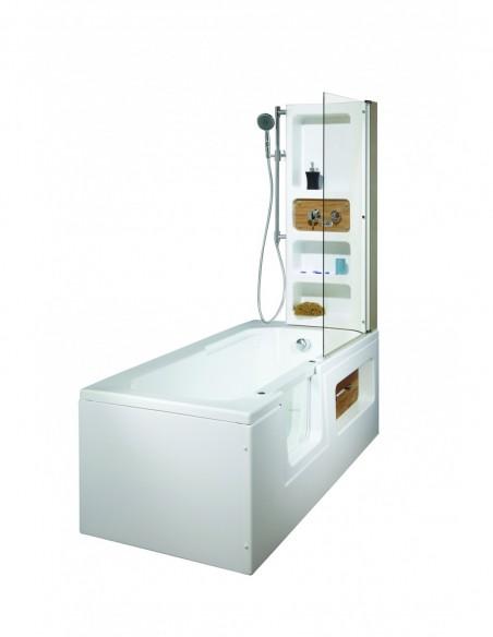 Baignoire à porte complet avec siège et paroi de douche 170x80 cm