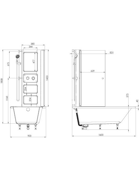 Plan 66064100100 baignoire a porte twineo prime  compatible pmr