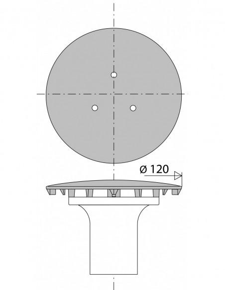 plan 03300000000 capot metal bonde receveur diam.90