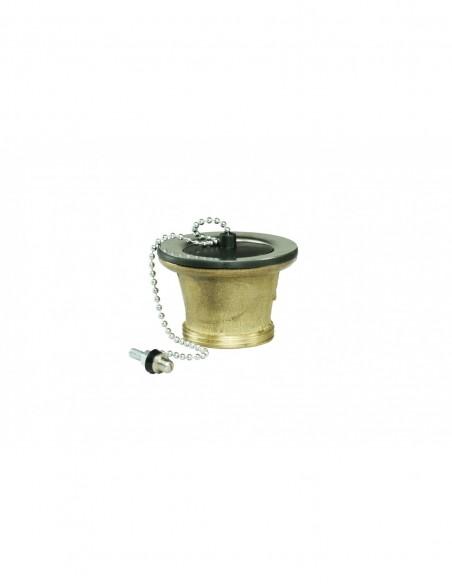 Bonde d'évier de Diam.50 mm en laiton avec cuvette et à bouchon noir