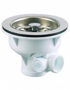 Bonde en plastique pour évier de Diam.90 mm avec panier en inox et cuvette de Diam 113 mm