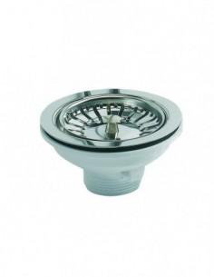 Bonde d'évier de Diam.90 mm avec panier en inox et cuvette de Diam.113 mm