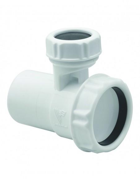 Soupape anti-vide blanc en plastique avec entrée et sortie Diam.40 pour vidage d'évier