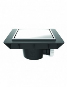 Bonde de sol réglable extra-plat avec capot en métal et sortie horizontale de marque QUADRATTO