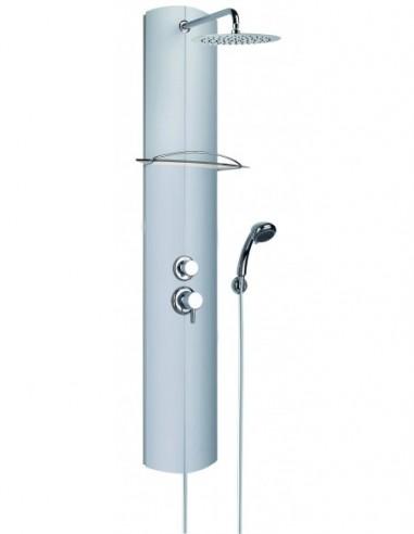 Colonne de douche de marque Totem Alu équipée d'une douchette 3 jets et d'une robinetterie mécanique