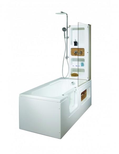 Baignoire à porte d'une longueur et largeur de 170x80cm avec siège et paroi de douche