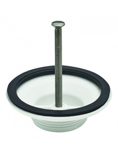 Plastic low part of waste D60 for stoneware sink VALENTIN wastes, watertight seal and fixing screw, D. 82 mm, white plastic