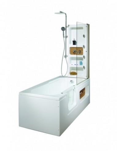 Baignoire avec siège équipé de combiné et de paroi de douche avec une longeur et une largeur 180X70 cm