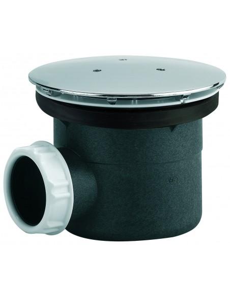 Bonde de douche de Diam 90 mm avec capot en métal et sortie horizontale