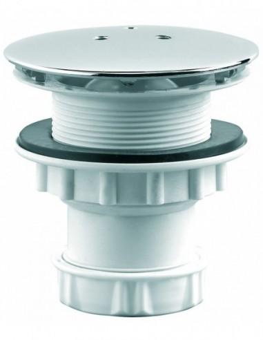 Bonde de douche en plastique de Diam 60 mm avec capot en métal et sortie verticale