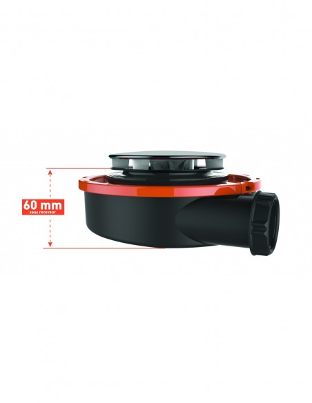 Bonde de receveur extra-plate de Diam 90 mm avec capot en inox et sortie horizontale