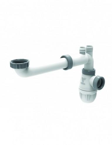 Tubulure de raccordement gain d'espace en plastique couleur blanche avec joint intégré pour lavabo