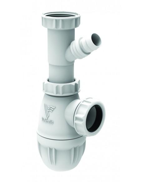 Siphon de lavabo blanc en plastique réglable et équipé de prises de machine ou trop plein