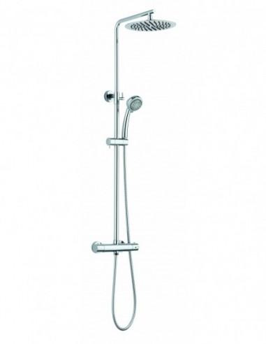 Combiné de douche Essentialis2 en métal chromé avec robinetterie thermostatique et pomme haute