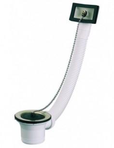 Bonde d'évier D. 50 mm avec trop plein avec bouchon chainette noir