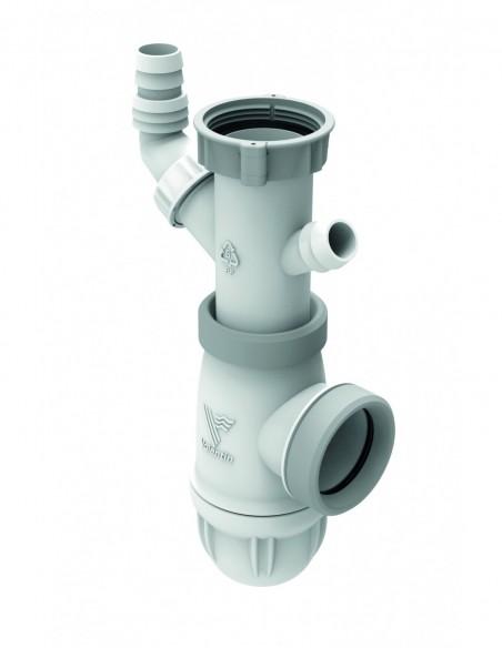 Siphon en plastique bi-matière réglable à 118/162mm avec prises et joint intégré pour évier NF