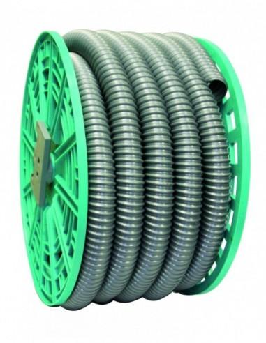 Raccord flexible en PVC gris avec Diam.32 et touret de longueur 20 mètres