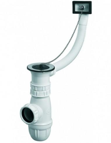 Vidage d'évier réglable plastique pour siphon de marque NF avec cuve D50mm et bouchon-chaînette