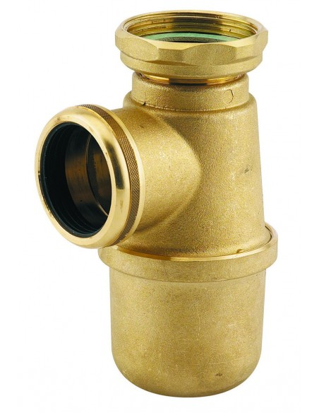 Siphon d'évier en laiton inox avec hauteur sous-évier 120mm et sortie de Diam 40