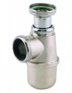 Siphon d'évier en laiton nickel avec hauteur sous-évier allant de 135 à 185mm et une sortie de D40