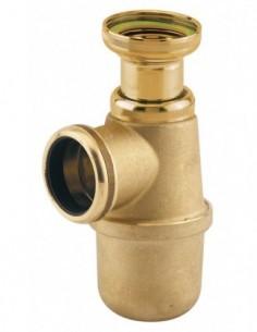 Siphon d'évier en laiton marque NF avec h sous évier 135/185 à sortie de D40 et régable à 50/100 mm