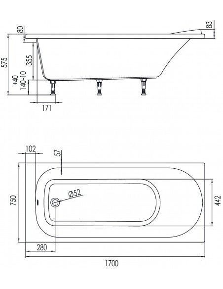 Drawing 66120000100 bathtub bahia 170x75 CM