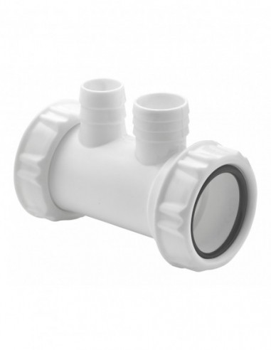Plastic straight connector D40, inlet 1''1/2, with 2 inlet connections for overflow or domestic appliances