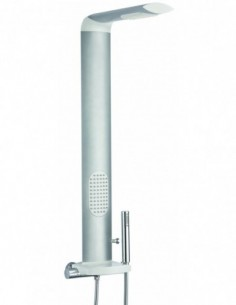Colonne de douche de marque Isme équipée de robinet thermostatique avec des zones d'aspersion
