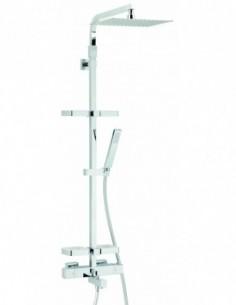 Combiné de douche Touareg en chrome avec robinet thermostatique et tablettes pour baignoire/douche