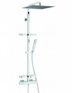 Combiné de douche Touareg en chrome avec pomme haute 400mm et robinet thermostatique plus tablettes