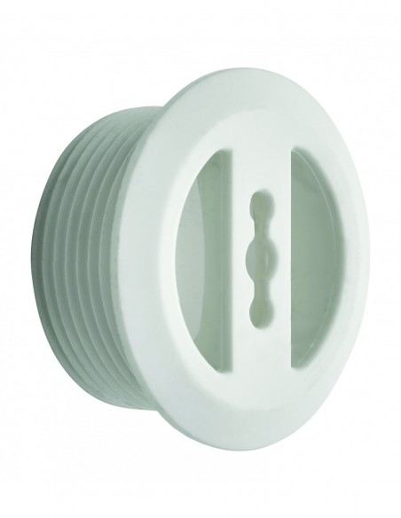 Overflow cover D.30 mm for acrylic, stainless steel and polyester washbasin, tightening 0/6 mm, L. 14 mm cuttable, white ABS