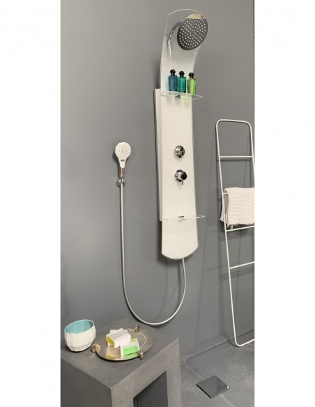 Colonne de douche avec rangements en verre blanc