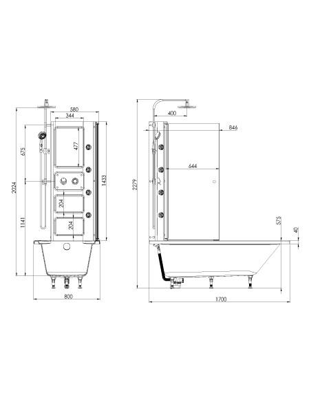 Plan 66064200100 Baignoire balnéothérapie à porte 170X80 cm