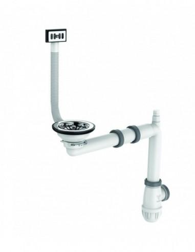 Vidage complet pour évier D 90 mm avec bonde à panier et siphon
