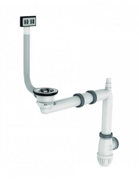 Equipement complet pour évier D 60 mm avec bonde à panier et siphon