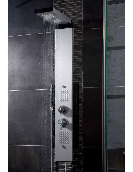 Colonne de douche hydromassante Dune, ambiance carrelage noir, douche en eau