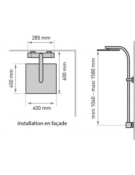 dimensions et installation façade colonne de douche touareg sans tablette