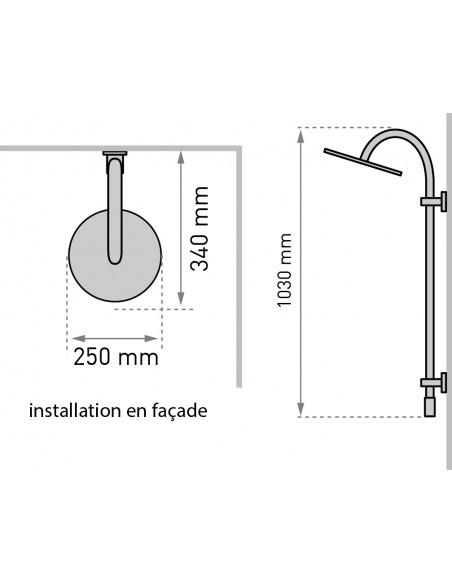 Dimensions pour installation en façade colonne de douche Classic 2