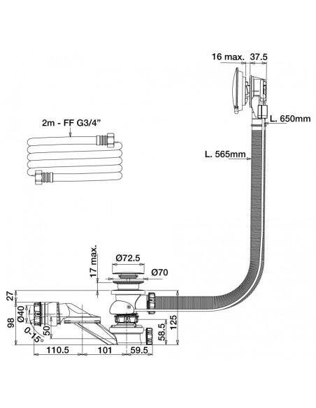 Drawing 582500 bath drain with bottom water filler