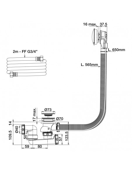 Drawing 582800 bath tub drain bottom filling with cable