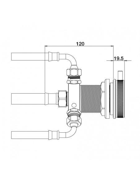 Plan 692000 robinet mécanique vue latérale
