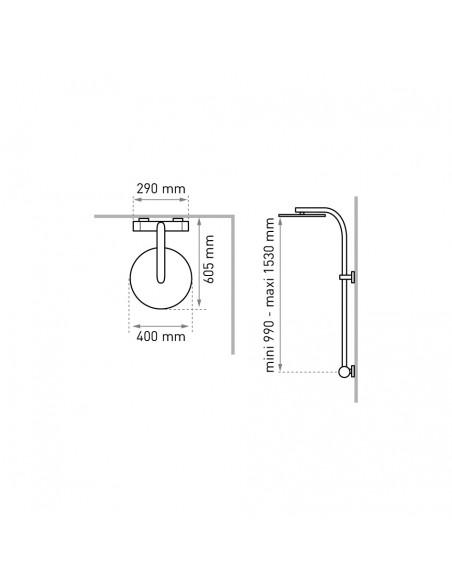 Mesures pour installation du combine de douche, pomme haute 400 mm