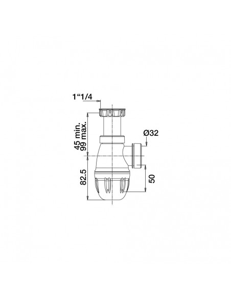 Drawing 610700 001 00 Adjustable basin trap easy to install D. 32 mm