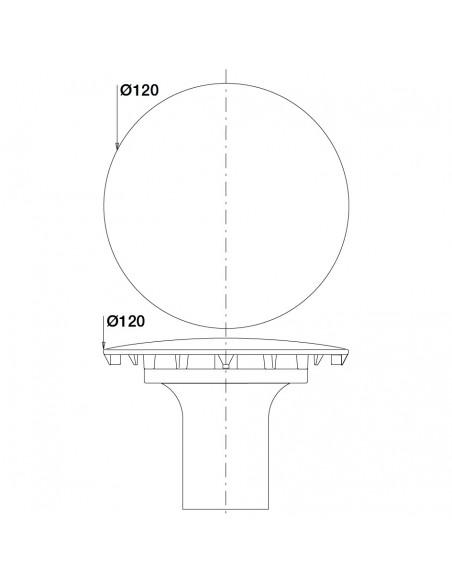 Plan 033000 000 00 Capot de bonde chromé tube garde d'eau D 120 m