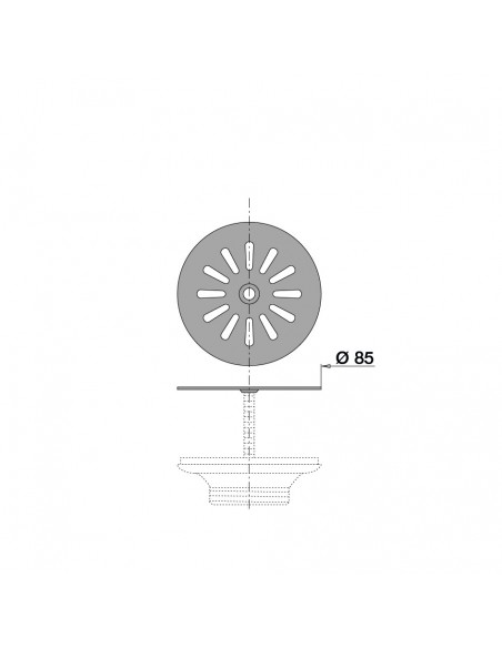Drawing 056400 000 00 Stainless steel daisy grid  for sink D. 60mm
