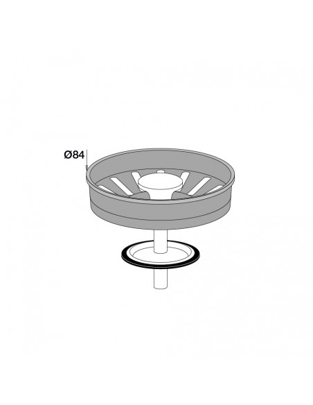 Drawing 442500 000 00 Authentic stainless steel basket for sink D.90 mm